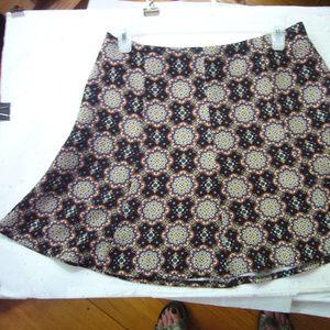 Lush Printed Circle Skater Skirt - Large - Floral